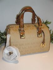 MICHAEL KORS MK GRAYSON MEDIUM SATCHEL SIGNATURE BAG CAMEL BEIGE TOTE $328 NEW