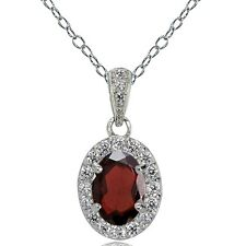 Sterling Silver Garnet and White Topaz Oval Halo Necklace