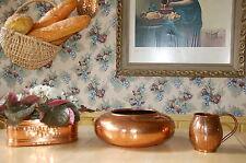 3 PC hammered decorative SOLID copper: kitchen large bowl, mug,  window sill box