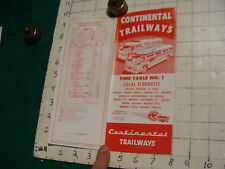 GREAT brochure: CONTINENTAL TRAILWAYS BUS time tables #1 local schedules 8pgs