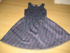 Girls10 RUBY AND BLOOM Navy Blue Pink Floral TULLE NET OVERLAY DRESS Lace Full