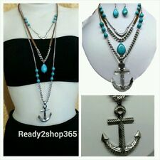 Nautical Anchor Necklace Pendant Silver Chain Fashion Beach Jewelry Women New US