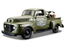 Harley Davidson, 1948 ford f-1 pick up Army Green, maisto auto modelo 1:24