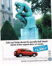 PUBLICITE 1996   VOLKSWAGEN   LA GOLF MATCH