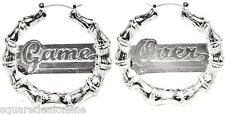 60072 Game Over Silver Colored Earrings Sourpuss Hoops Alloy Heavy Duty Punk