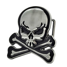 Black Skull and Crossbones Belt Buckle Painted Metal Cool Unique Hip New