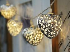 "79"" 20-LED Wedding Metal Heart Shape String Lamp Fairy Lights US Plug AC110-120V"