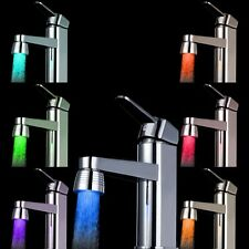 7-Colored Changing Temperature Sensor LED Light Water Faucet Tap Silver