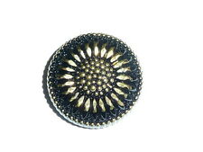 Pretty Black Daisy Flower Czech Glass Shank Button 27mm Gold Bronze Color Finish