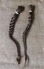 2 Locks of Vintage 100% Natural Braided Human Hair Brown Color Ponytail