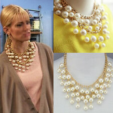 Chunky Statement Multilayer Pearl Dangle Pendant Choker Necklace Sisters Friends