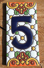 "Talavera Mexican Pottery Clay house number address 3 X 6"" hi relief cobalt #5"