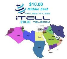Calling Card PINless Call from USA to Middle East Rechargeable $10