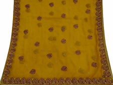 Vintage Dupatta Long Indian Scarf Embroidered Fabric Used Yellow Veil Stole Hija