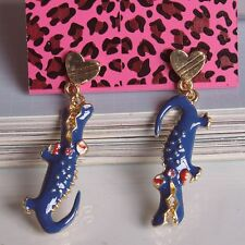 E55 Betsey Johnson Blue Baby Crocodile Ribbon Crystal Croc Alligator Earrings US