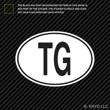 TG Togo Country Code Oval Sticker Decal Self Adhesive Togolese euro