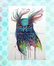"blue cool owl extra large 8.25"" half-sleeve arm tattoo Bohemian Festival"