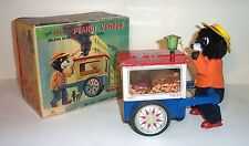 1950's BATTERY OPERATED THE JOLLY PEANUT VENDOR BEAR TIN LITHO TOY T-N Co. JAPAN