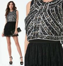 BEBE BLACK FLORAL SEQUIN LACE RUFFLE DRESS NEW $199 MEDIUM M 8