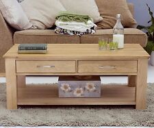 Mobel solid oak furniture storage drawers coffee table