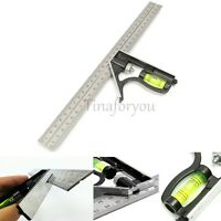 """Adjustable 12"""" 300mm Stainless Steel Measuring Engineer Combination Level Square"""