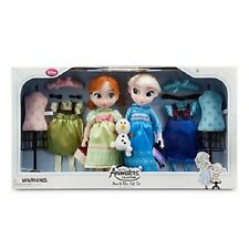 Original Disney Store Frozen Elsa Anna Animator's Collection Doll Set New!