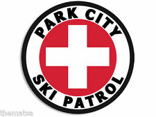 "4"" PARK CITY UTAH SKI PATROL HELMET CAR BUMPER DECAL STICKER MADE IN USA"
