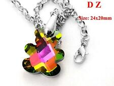 c001242 Rainbow Bear Shape Silver Back Crystal Glass Bead Pendant Chain Necklace