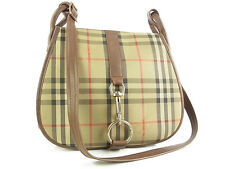 Auth Burberrys Nova Check Plaid Pattern Canvas Shoulder Bag Brown F/S 11487eRQ