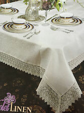 TREASURE IVORY LACE  EDGE TABLE CLOTH BY VIOLA LINEN