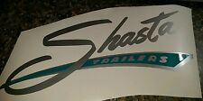 SHASTA Vinyl Decal Sticker Vintage Camper large silver with turquoise background