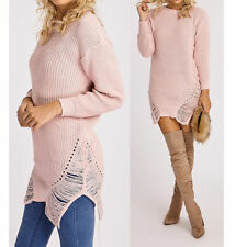 Womens Long Sleeve Distressed Sweater Ladies Knitted Jumper Winter Dress 8/16