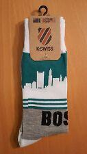 K-Swiss Men's Novelty Crew Socks Boston Skyline Green and White NWT