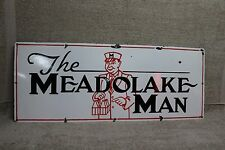 """THE MEADOLAKE MAN  34"""" PORCELAIN SIGN MILK MAN DAIRY FEED SEED COW FARM BOTTLE"""
