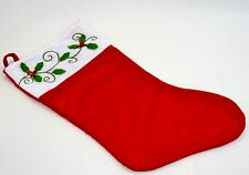 Red and White Embellished Holly Christmas Stocking