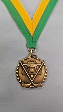 HOCKEY  medal gold with green/gold neck ribbon trophy