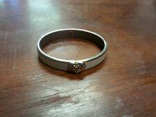 Coach Signature Hinged Bangle Bracelet, Gold Heart, Cream Enamel, Vintage