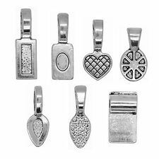 70pcs Mix Antique Silver Spoon Glue on Bail Earring Bails Glass Pendant Charms