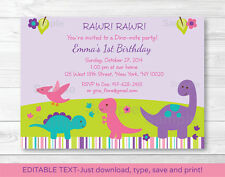 Girl Dinosaur Printable Birthday Invitation Editable PDF