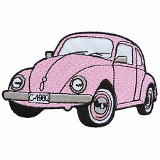 Pink VW Bug Buggy Volkswagen Car Camper Van Classic Hippie Iron on Patch #MC026