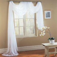 """Empire Home Solid Sheer Window Voile Scarf Valance 216"""" Long Scarves Cloud White"""