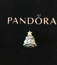 Authentic Pandora ALE Sterling Silver 14K Gold Christmas Tree Star Charm Bead
