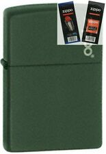 Zippo 221zl green matte with logo Lighter with *FLINT & WICK GIFT SET*