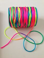 7M Rainbow / Neon Braided nylon Cord Thread 1.5mm great for Shamballa Kumihimo