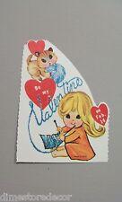 Vtg Valentine Card 60s Little Blond Girl Siamese Cat Knitting Unused