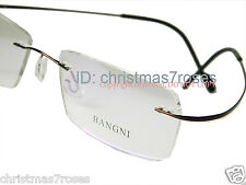 RIMLESS TITANIUM EYE GLASSES FRAMES MEN flexible WRAPPED super light-BROWN