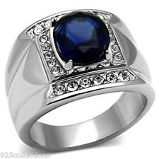 11x9 mm September Blue Montana Birthstone 316 Stainless Steel Men Ring Size 9
