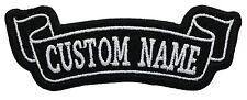 "Custom Embroidered 4.1"" x 1.5""  bottom Banner Name Tag  Biker patch"