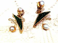 Genuine Diaptase Cultured Pearl Gold Vermeil 925 Sterling Silver Clip Earrings