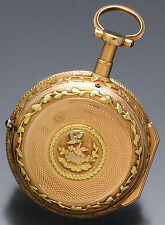 18K Multicolor Gold Repousse Case Quarter Hour Bell Repeater Pocket Watch CA1775